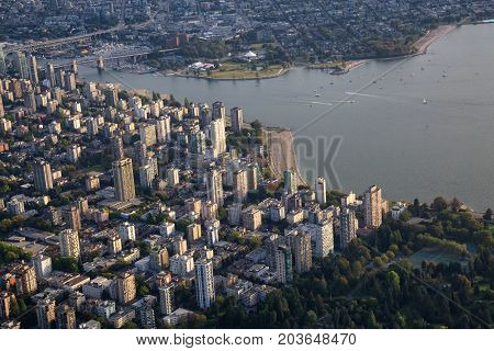 Aerial view on the buildings English Bay Beach and False Creek in Downtown Vancouver British Columbia Canada.