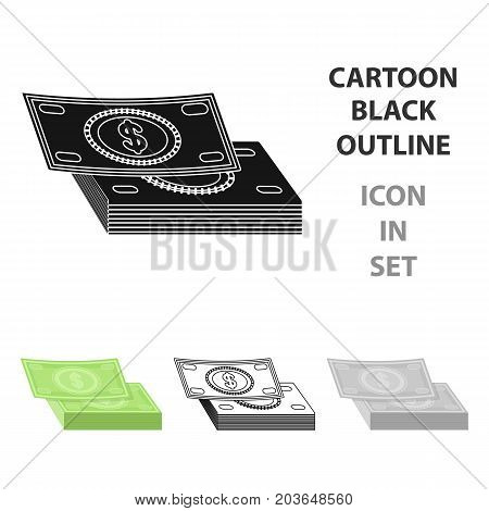 Pile of cash icon in cartoon design isolated on white background. Rest and travel symbol stock vector illustration.