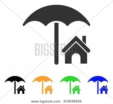 House Under Umbrella icon. Vector illustration style is a flat iconic house under umbrella symbol with black, gray, green, blue, yellow color versions. Designed for web and software interfaces.