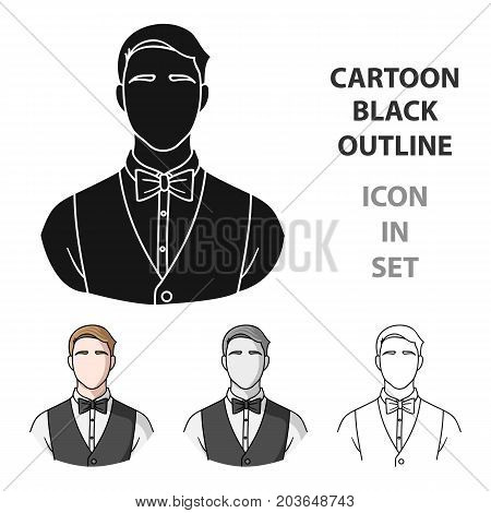 Restaurant waiter with a bow tie icon in cartoon style isolated on white background. Restaurant symbol vector illustration.