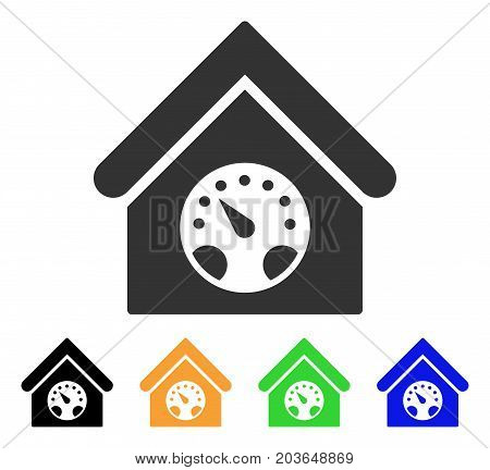 Meter Building icon. Vector illustration style is a flat iconic meter building symbol with black, grey, green, blue, yellow color variants. Designed for web and software interfaces.