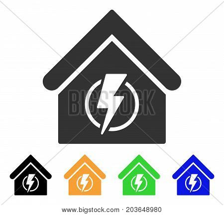 Power Supply Building icon. Vector illustration style is a flat iconic power supply building symbol with black, grey, green, blue, yellow color variants. Designed for web and software interfaces.