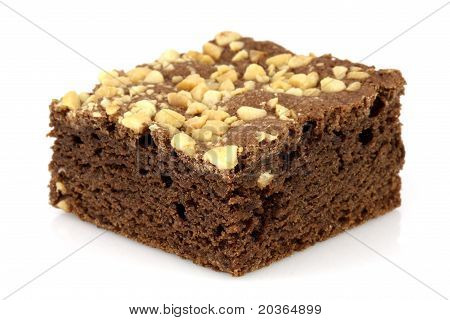 Chocolate Brownie With Cracked Peanuts On Top