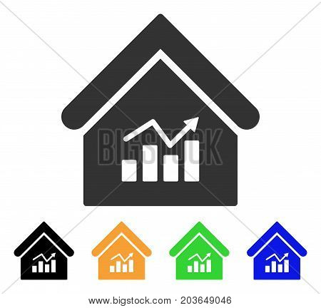 Realty Charts icon. Vector illustration style is a flat iconic realty charts symbol with black, gray, green, blue, yellow color variants. Designed for web and software interfaces.