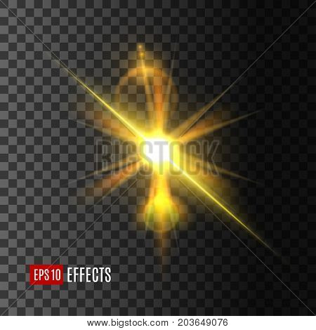 Light effect of shining star or sun glare on transparent background. Golden light flash with glowing rays and lens flare effects