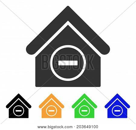 Remove Building icon. Vector illustration style is a flat iconic remove building symbol with black, gray, green, blue, yellow color variants. Designed for web and software interfaces.