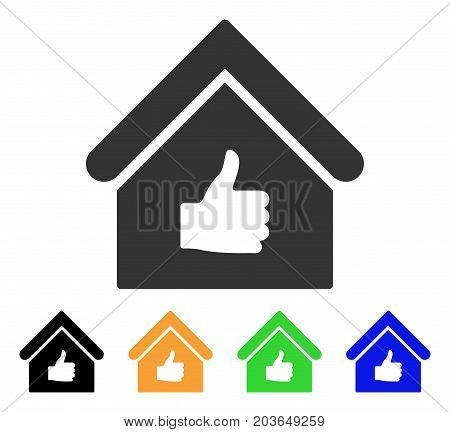Thumb Up Building icon. Vector illustration style is a flat iconic thumb up building symbol with black, gray, green, blue, yellow color variants. Designed for web and software interfaces.