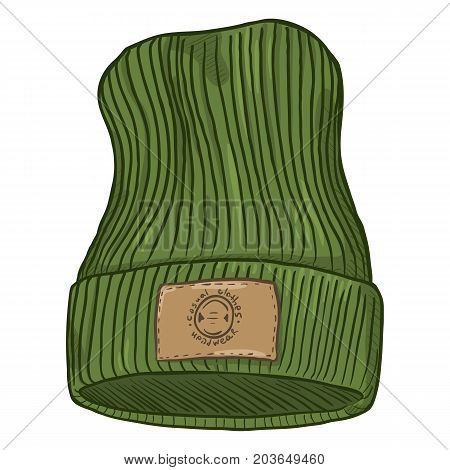 Vector Cartoon Casual Knitted Cap With Brown Leather Label.