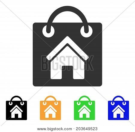Buy Home icon. Vector illustration style is a flat iconic buy home symbol with black, grey, green, blue, yellow color variants. Designed for web and software interfaces.