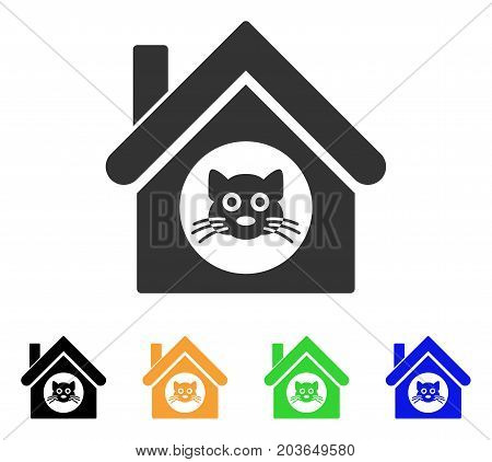 Cat House icon. Vector illustration style is a flat iconic cat house symbol with black, grey, green, blue, yellow color versions. Designed for web and software interfaces.
