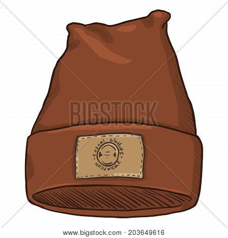Vector Cartoon Brown Casual Textile Cap with Leather Label.