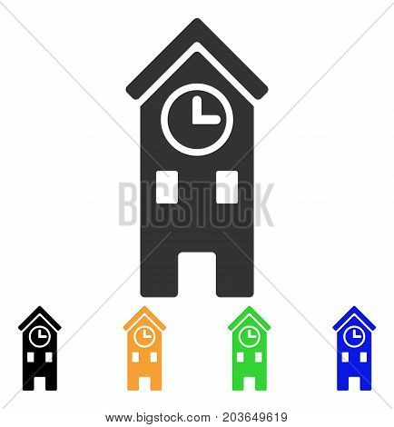 Clock Tower icon. Vector illustration style is a flat iconic clock tower symbol with black, gray, green, blue, yellow color versions. Designed for web and software interfaces.