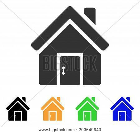 Closed House Door icon. Vector illustration style is a flat iconic closed house door symbol with black, gray, green, blue, yellow color versions. Designed for web and software interfaces.