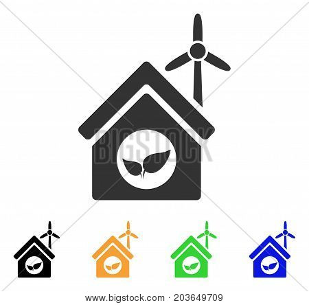 Eco House Building icon. Vector illustration style is a flat iconic eco house building symbol with black, grey, green, blue, yellow color versions. Designed for web and software interfaces.