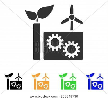 Eco Plant icon. Vector illustration style is a flat iconic eco plant symbol with black, grey, green, blue, yellow color versions. Designed for web and software interfaces.