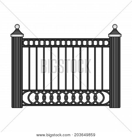 A fence of metal . A different fence single icon in monochrome style vector symbol stock illustration .