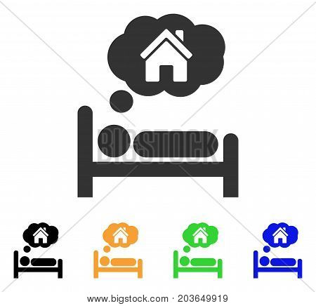 House Dreams icon. Vector illustration style is a flat iconic house dreams symbol with black, grey, green, blue, yellow color variants. Designed for web and software interfaces.