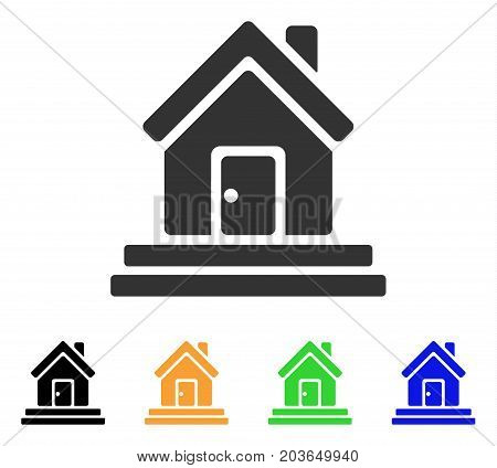 House Front Door icon. Vector illustration style is a flat iconic house front door symbol with black, grey, green, blue, yellow color variants. Designed for web and software interfaces.