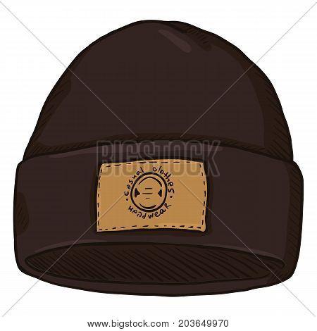 Vector Dark Brown Winter Sport Cap with Label. Front View.