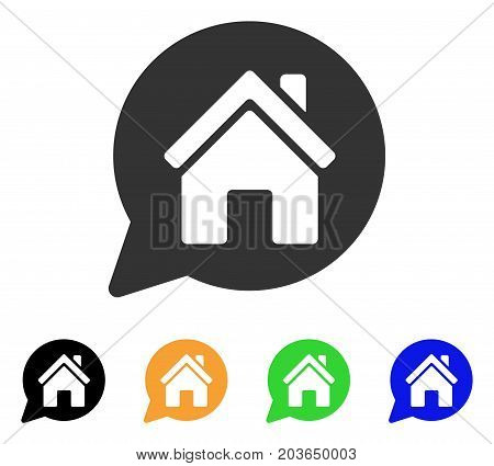 House Mention icon. Vector illustration style is a flat iconic house mention symbol with black, gray, green, blue, yellow color variants. Designed for web and software interfaces.