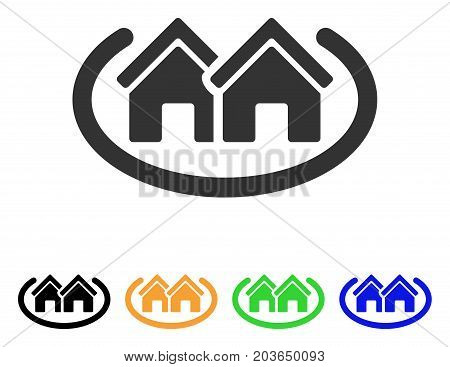 Houses Area icon. Vector illustration style is a flat iconic houses area symbol with black, grey, green, blue, yellow color versions. Designed for web and software interfaces.