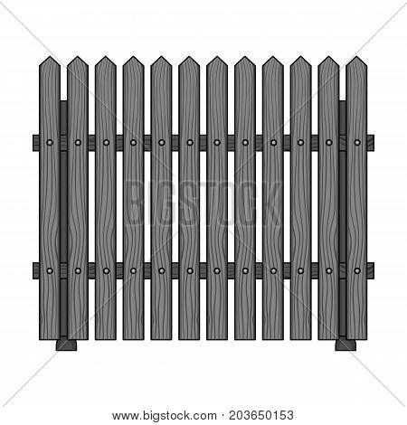 A wooden fence. A different fence single icon in monochrome style vector symbol stock illustration .