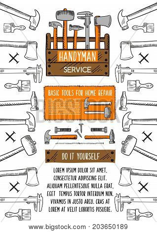 Repair tool banner with toolbox sketch. Hammer, wrench, paint brush, spanner, screw and nail arranged into frame with text layout in center. Handyman service and DIY advertising poster design