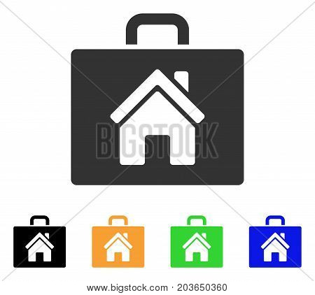 Realty Case icon. Vector illustration style is a flat iconic realty case symbol with black, gray, green, blue, yellow color versions. Designed for web and software interfaces.