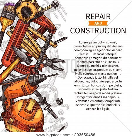 Poster of DIY work tools. Hammer, screwdriver and wrench, spanner, drill, pliers and paint brush, tape measure, hard hat and screw, nails and vice, hand instrument poster design