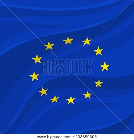 European Union flag symbol with circle of yellow stars on blue field. Official banner of Europe and EU countries icon for travel, patriotism and government concept design