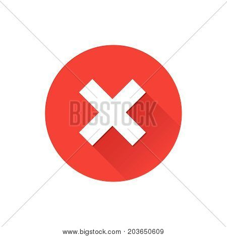 Red cross flat icon in circle. Vector illustration isolated on a white background. Acceptance of voting results. Premium quality.