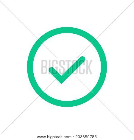 Green tick flat icon in circle. Vector illustration isolated on a white background. Acceptance of voting results. Premium quality.