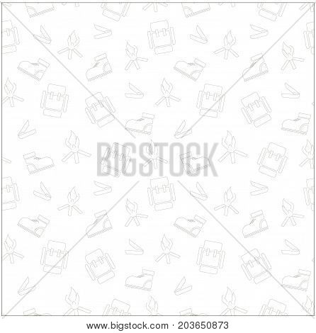 Seamless monochrome background with trekking boot, hearth, knife, backpack for extreme tourism stock vector illustration