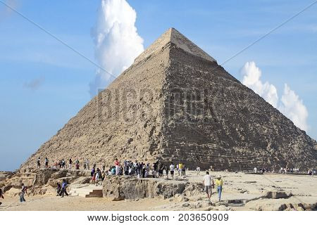 CAIRO - SEPTEMBER 17, 2010: Giza pyramid, UNESCO world heritage site on September 17, 2010 in Cairo, Egypt.