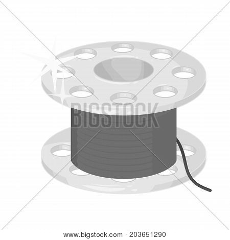 Metal bobbin for sewing. Sewing and equipment single icon in monochrome style vector symbol stock illustration .