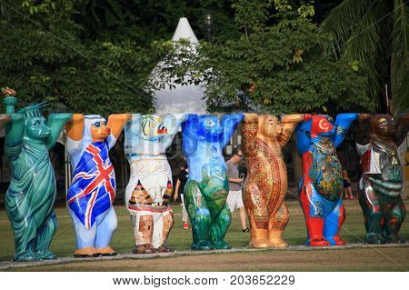PENANG, MALAYSIA - SEPT 4, 2016: United National peace bears exhibited in a park at George Town on Sept 4, 2016 in Penang, Malaysia.