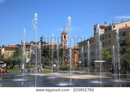 NICE, FRANCE - APRIL 30, 2015: Promenade du Paillon of Nice on April 30, 2015 in Nice, France. It is a popular public park in Nice.