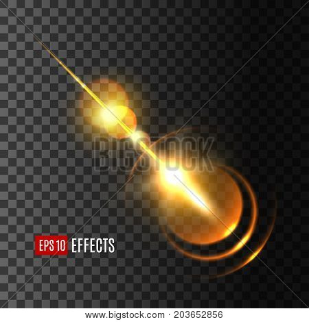 Glowing golden light effect of sun flash with rays and lens flare. Shine of star explosion with bright beam on transparent background