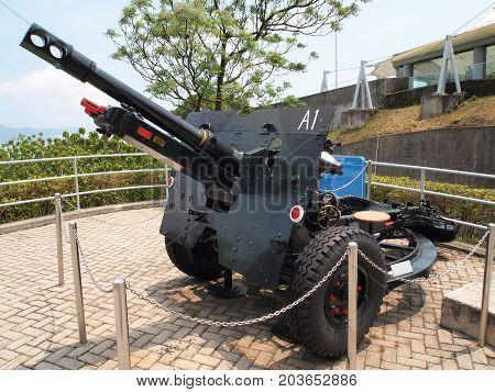 HONG KONG - APRIL 7, 2017: Historic military cannon for coastal defence on April 7, 2017 in Hong Kong.