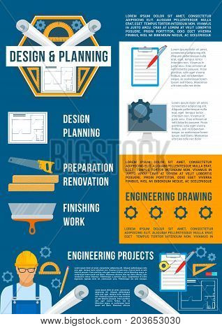 Building design and construction industry poster template. Architectural and engineering drawing, contractor with work tool, pencil, ruler, home renovation project. Construction theme design