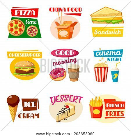 Fast food icon set of takeaway burger sandwich, drink, snack and dessert. Hamburger, fries, pizza, soda and donut, coffee, ice cream and popcorn, chinese noodle box, cheesecake isolated cartoon symbol