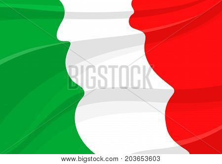 Italian Republic flag in 3d style. National banner of Italy, realistic tricolor with green, white and red stripe, waving in the wind. Travel, tourism, european geography and history themes design