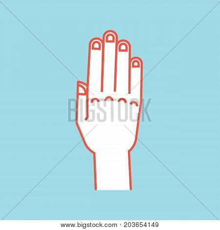 Gesture. Stop sign. Stylized hand with all fingers up and connected. Vector illustration on blue background. Icon. Making attention sign by hand. Orange outline, white silhouette. Backhand. Logo.