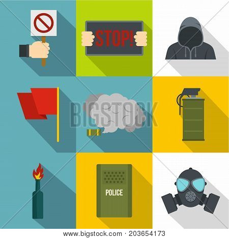 Political revolt icon set. Flat style set of 9 political revolt vector icons for web design
