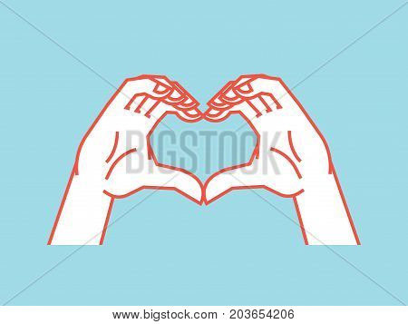 Gesture. Stylized hands in the form of heart. Icon. Vector illustration on a blue background. Making love sign by hands. Orange lines and white silhouette. Logo. Print. Design.