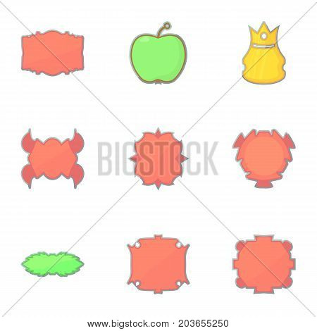 Different vintage sticker for store icons set. Cartoon set of 9 different vintage sticker for store vector icons for web isolated on white background