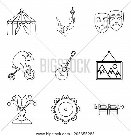 Acrobat icons set. Outline set of 9 acrobat vector icons for web isolated on white background