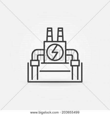 Vector geothermal power plant icon - vector outline minimal symbol or design element