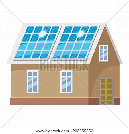 Roof solar battery icon. Cartoon illustration of roof solar battery vector icon for web design