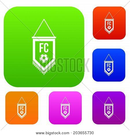 Pennant with soccer ball set icon color in flat style isolated on white. Collection sings vector illustration